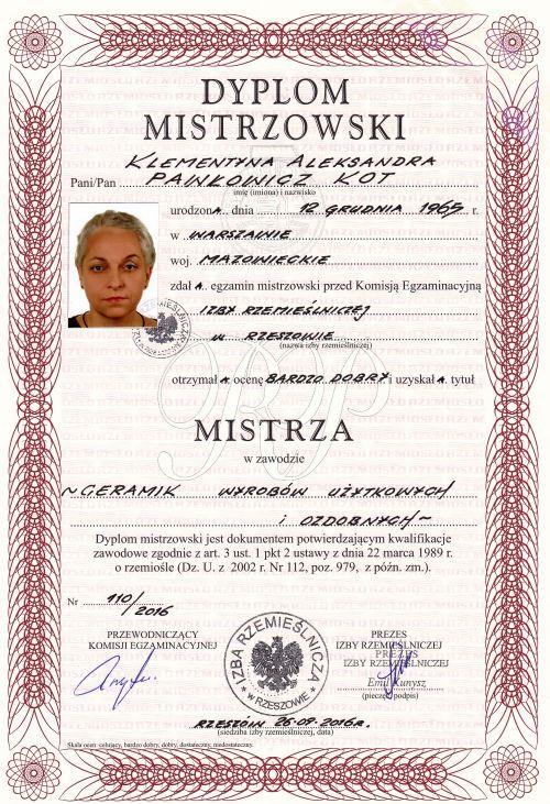 dyplom mistrzowski Klementyna Pawłowicz-Kot